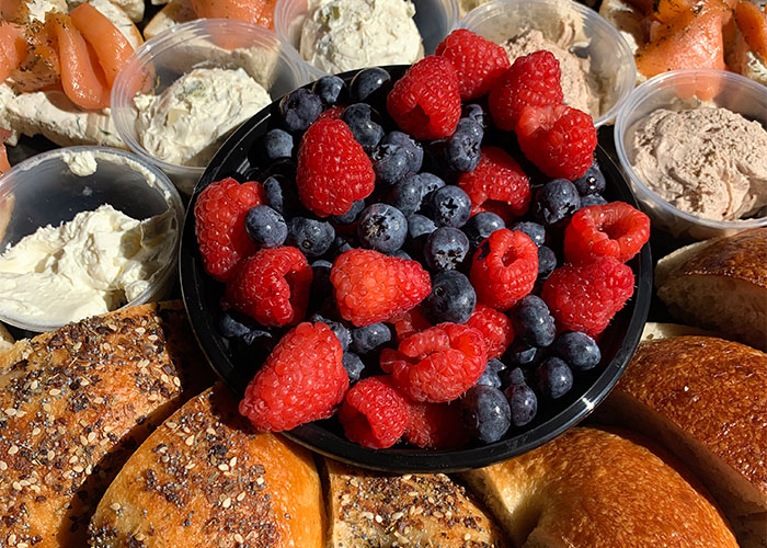 Platter of Bagels and Fruit